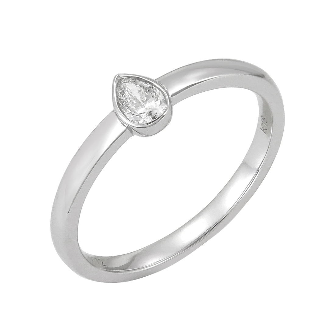18KT white gold ring with 0.17ct bezel set pear shape diamon...