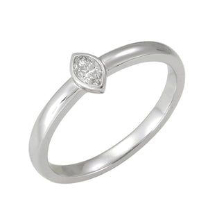 18KT white gold ring with 0.14ct bezel set marquise diamonds...
