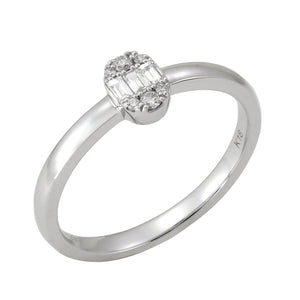 18KT white gold ring with 0.12ctw baguette and round diamond...