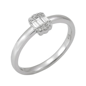18KT white gold ring with 0.15ctw baguette and round diamond...