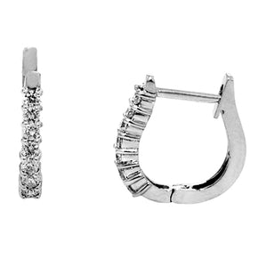 14KT white gold huggie earrings with 0.22ctw round diamonds,...