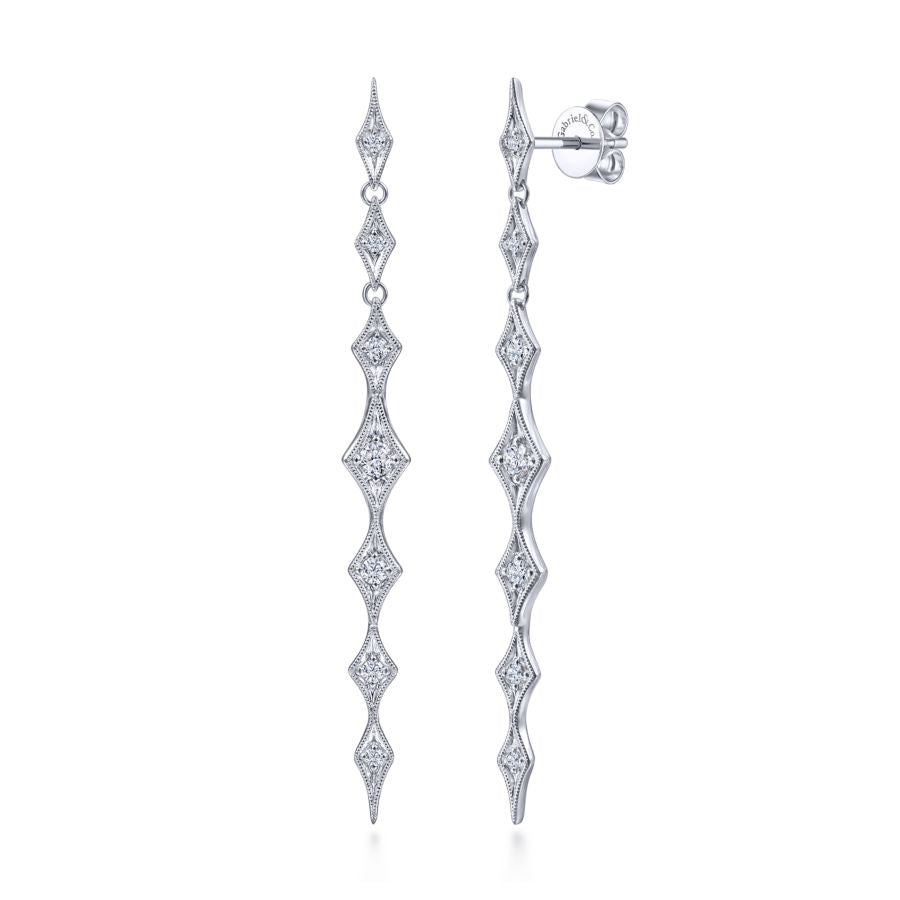 14K White Gold Linear Diamond Station Drop Earrings, 0.33ctw...
