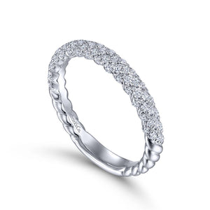 14K White Gold Diamond Pavé Band, 0.37ctw, H/I-SI, Size 6.5