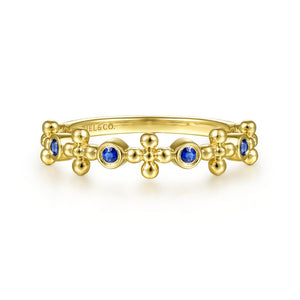 14K Yellow Gold Sapphire and Bujukan Bead Station Ring, 0.11...