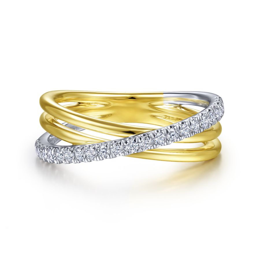 14K White-Yellow Gold Diamond Ladies' Ring, 0.25ctw, H/I-SI,...