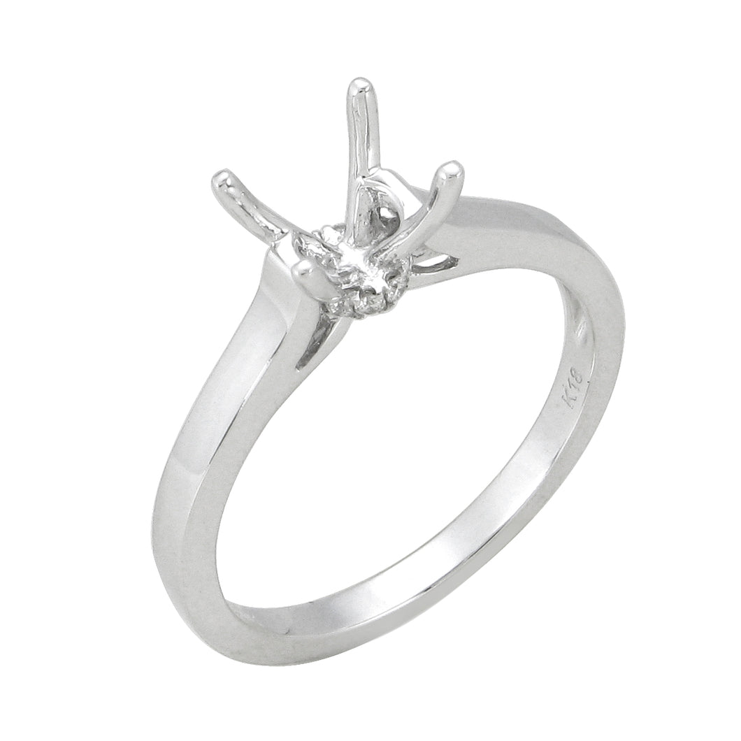 18KT white gold solitaire semi-mount with 0.04ctw round diam...