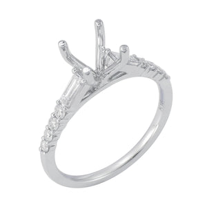 18KT white gold semi-mount with 0.40ctw round and baguette s...