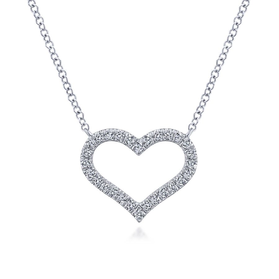 14K White Gold Diamond Heart Pendant Necklace, 0.23ctw, H/I-...