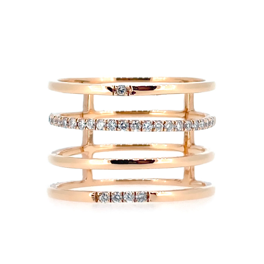 18KT rose gold ring with 0.15ctw round diamonds, G/H-VS (28 ...