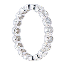 Load image into Gallery viewer, 18KT white gold bezel set eternity band with 1.18ctw round d...