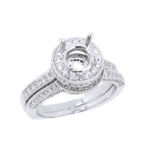 14KT white gold semi-mount with 0.68ctw round diamonds, G/H-...