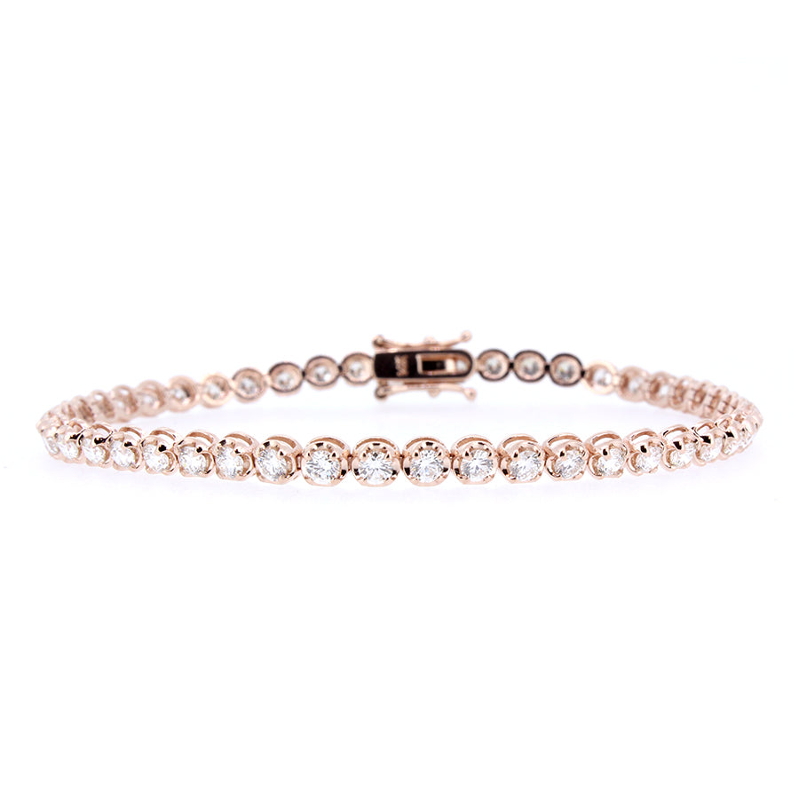 14KT rose gold tennis bracelet with 3.00ctw round diamonds, ...