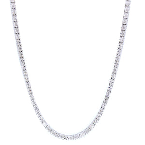 18KT white gold tennis necklace with 10.41ctw oval diamonds,...