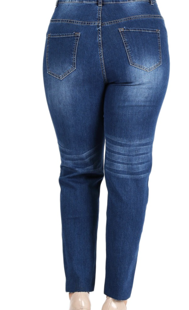 Curvy Blue Distressed Jeans