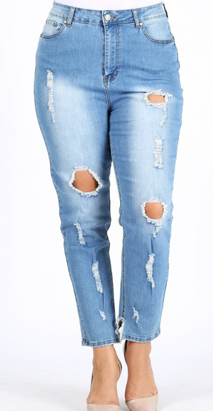 Curvy Distressed Jeans