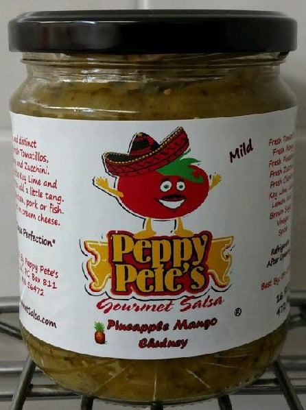 Peppy Pete's Gourmet Salsa - Pineapple Mango Chutney - 16 oz