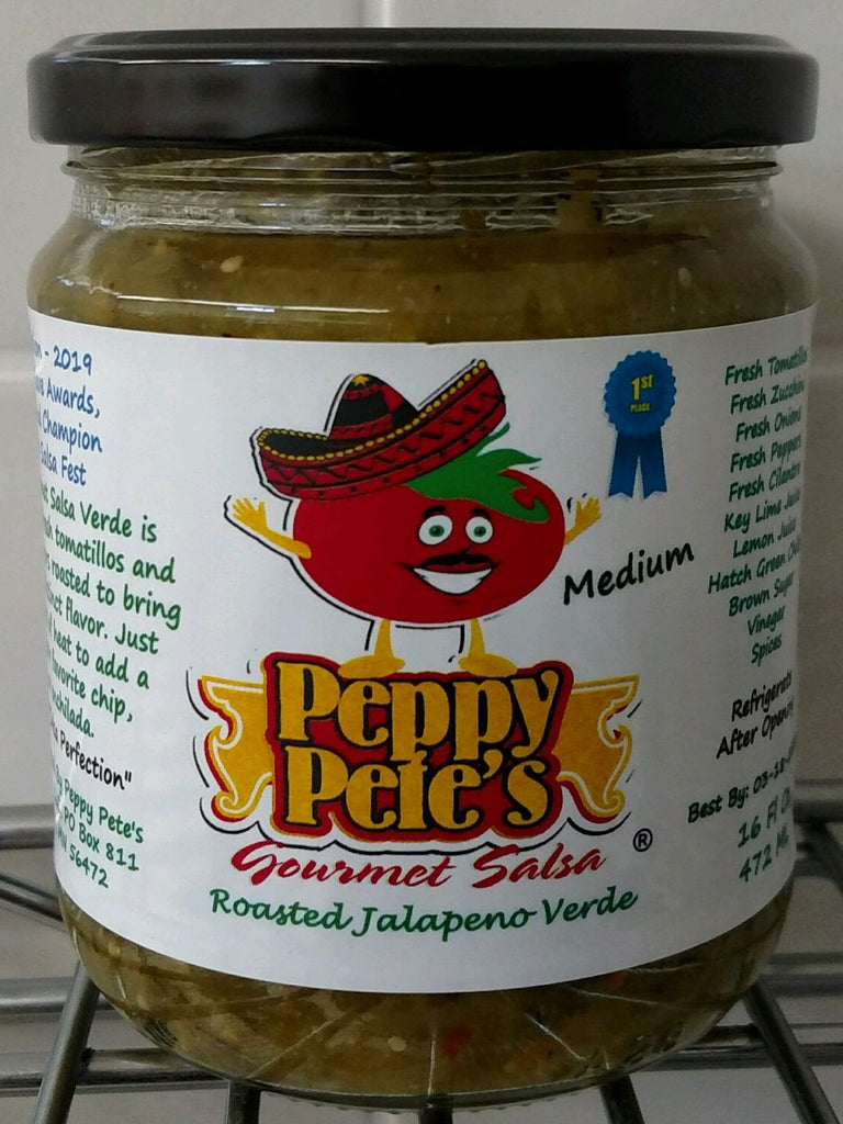 Peppy Pete's Gourmet Salsa - Roasted Jalapeno Verde - 16 oz