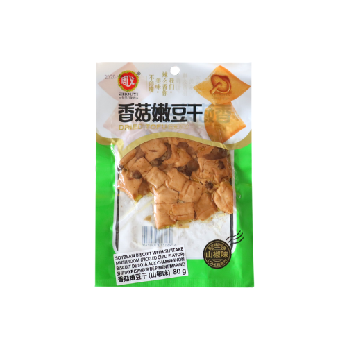 Soybean Biscuit with Shiitake Mushroom (Pickled Chili Flavor)周義香菇嫩豆干-山椒味 10bags