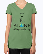 Load image into Gallery viewer, Global Design #TogetherStrong on Bella Ladies V-Neck