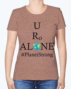 Global Design #PlanetStrong on Fruit of the Loom Ladies Heavy Cotton T-Shirt