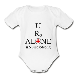 Nurses Design on Organic Short Sleeve Baby Bodysuit - white
