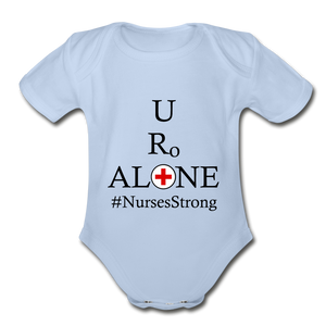 Nurses Design on Organic Short Sleeve Baby Bodysuit - sky