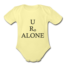 Load image into Gallery viewer, Classic Design on Organic Short Sleeve Baby Bodysuit - washed yellow