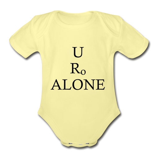 Classic Design on Organic Short Sleeve Baby Bodysuit - washed yellow