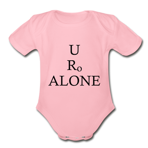 Classic Design on Organic Short Sleeve Baby Bodysuit - light pink