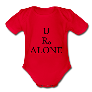 Classic Design on Organic Short Sleeve Baby Bodysuit - red