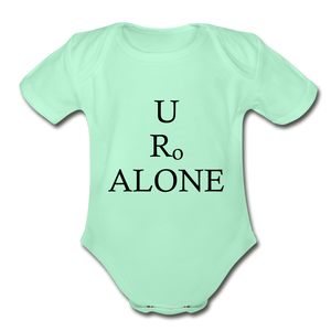 Classic Design on Organic Short Sleeve Baby Bodysuit - light mint