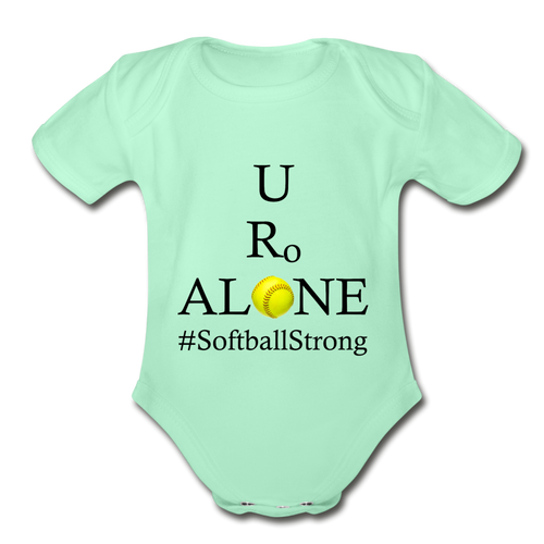Softball Design on Organic Short Sleeve Baby Bodysuit - light mint