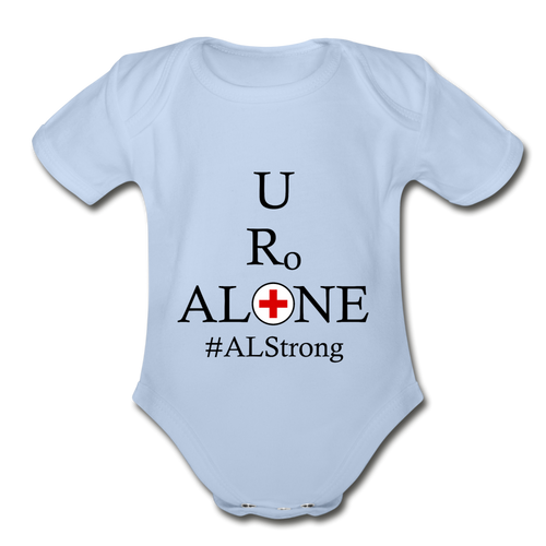 Medical and State Design #ALStrong on Organic Short Sleeve Baby Bodysuit - sky