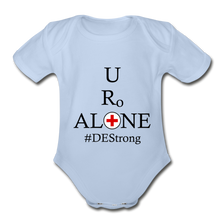 Load image into Gallery viewer, Medical and State Design #DEStrong on Organic Short Sleeve Baby Bodysuit - sky