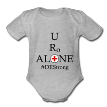 Load image into Gallery viewer, Medical and State Design #DEStrong on Organic Short Sleeve Baby Bodysuit - heather gray