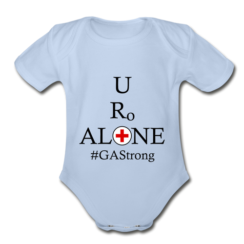 Medical and State Design #GAStrong on Organic Short Sleeve Baby Bodysuit - sky