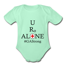 Load image into Gallery viewer, Medical and State Design #GAStrong on Organic Short Sleeve Baby Bodysuit - light mint