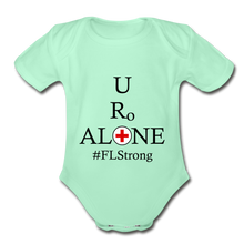 Load image into Gallery viewer, Medical and State Design #FLStrong on Organic Short Sleeve Baby Bodysuit - light mint