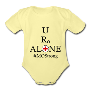 Medical and State Design #MOStrong on Organic Short Sleeve Baby Bodysuit - washed yellow