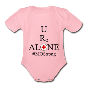 Medical and State Design #MOStrong on Organic Short Sleeve Baby Bodysuit - light pink