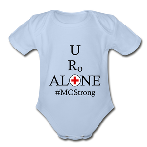 Medical and State Design #MOStrong on Organic Short Sleeve Baby Bodysuit - sky