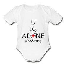 Load image into Gallery viewer, Medical and State Design #KSStrong on Organic Short Sleeve Baby Bodysuit - white