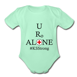 Medical and State Design #KSStrong on Organic Short Sleeve Baby Bodysuit - light mint