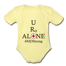 Load image into Gallery viewer, Medical and State Design #MDStrong on Organic Short Sleeve Baby Bodysuit - washed yellow