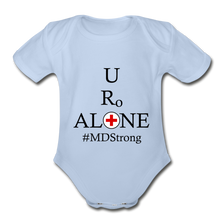 Load image into Gallery viewer, Medical and State Design #MDStrong on Organic Short Sleeve Baby Bodysuit - sky
