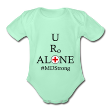 Load image into Gallery viewer, Medical and State Design #MDStrong on Organic Short Sleeve Baby Bodysuit - light mint