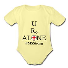 Load image into Gallery viewer, Medical and State Design #MSStrong on Organic Short Sleeve Baby Bodysuit - washed yellow