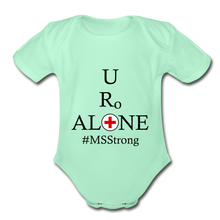 Load image into Gallery viewer, Medical and State Design #MSStrong on Organic Short Sleeve Baby Bodysuit - light mint