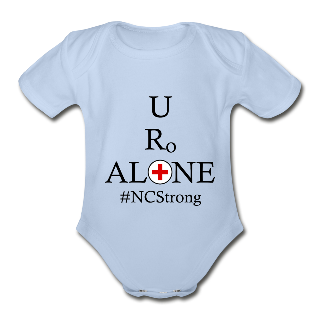 Medical and State Design #NCStrong on Organic Short Sleeve Baby Bodysuit - sky
