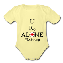 Load image into Gallery viewer, Medical and State Design #IAStrong on Organic Short Sleeve Baby Bodysuit - washed yellow
